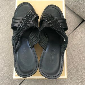 Michael Kors Huarache Slide Wedges Black Size 7.5
